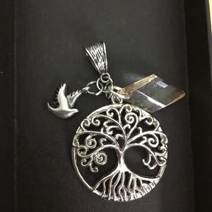 Silver Tree of Life Dove Pendant